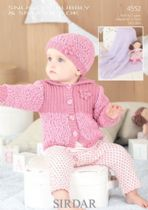 Sirdar Snuggly Bubbly - 4552 Cardigan, Hat & Blanket Knitting Pattern